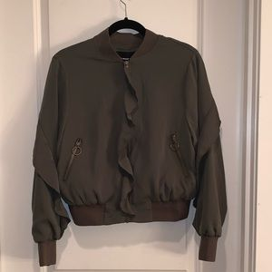 Who What Wear Military Green Ruffle Bomber Jacket